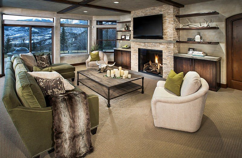 Natural Stone Fireplace With Wall Mount TV Design Ideas Part 47